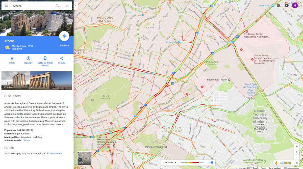google traffic athens