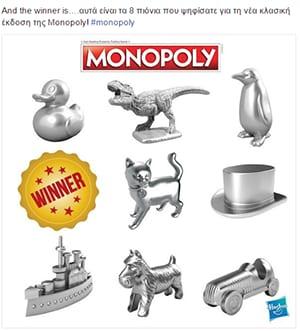 Οι fans της Monopoly ψήφισαν τα αγαπημένα τους πιόνια!